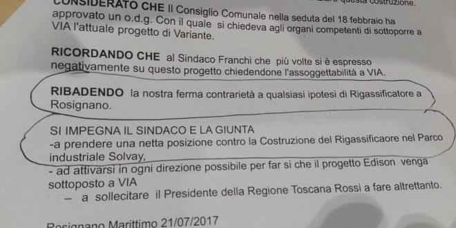 Rigassificatore a Rosignano: da una parte noi, dall'altra le altre forze politiche…