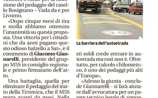 STOP DEL PEDAGGIO AL CASELLO DI ROSIGNANO: RICHIESTA FORTEMENTE VOLUTA DAL M5S E DAI CITTADINI