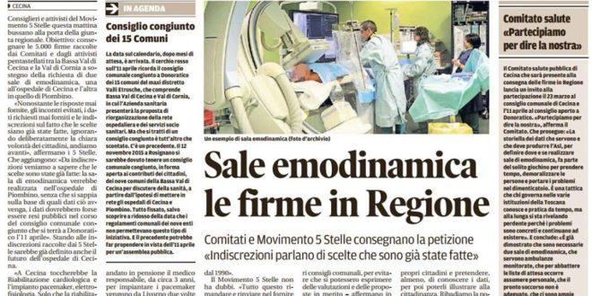 PETIZIONE RACCOLTA FIRME EMODINAMICA:  IN REGIONE LA CONSEGNA DELLE 5.000 FIRME RACCOLTE