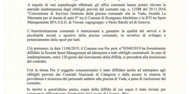 LA RISPOSTA DEL SINDACO ALL'INTERPELLANZA SULLA GESTIONE DELLA PISCINA COMUNALE