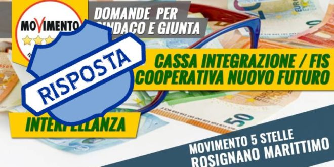 LA RISPOSTA ALL'INTERPELLANZA SULLA CASSA INTEGRAZIONE-FIS PER LA COOPERATIVA NUOVO FUTURO