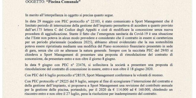 LA RISPOSTA DEL SINDACO ALL'INTERPELLANZA SULLA RIAPERTURA DELLA PISCINA COMUNALE