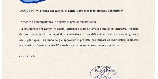 PROCEDE MOLTO LENTAMENTE LA MESSA IN SICUREZZA DELLE TRIBUNE DEL CAMPO DI CALCIO BARBENSI A MARITTIMO