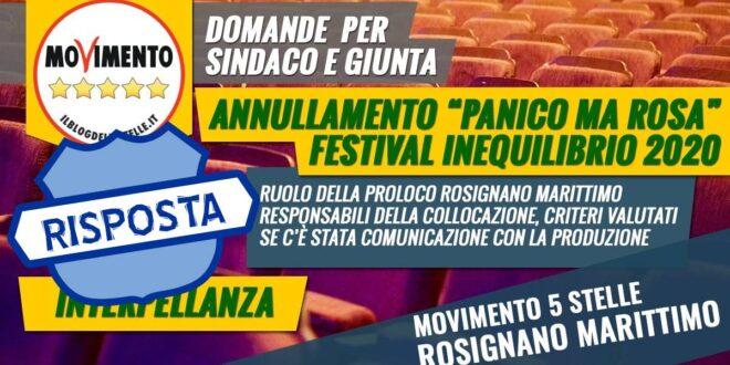 """LA RISPOSTA ALL'INTERPELLANZA ANNULLAMENTO MESSA IN SCENA DEL TESTO """"PANICO MA ROSA"""" AL FESTIVAL INEQUILIBRIO 2020"""